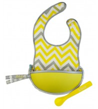 B.box The Essential Travel Bib (with silicone spoon) - Mellow Lellow