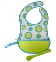 B.box The Essential Travel Bib (with silicone spoon) - Retro Circles